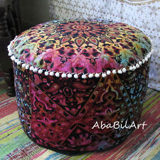 New Large Ottoman Pouf Cover Tie Dye Cotton Round Mandala Foot Stool Pouf Cover