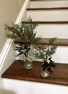 Hearth & Hand Magnolia  SET of 2 Arrangements Cypress Berry Stems and Glass Vase