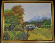 VTG Oil Painting Country Road Red Barn Blue Mountains Large Tree 24 x 30 Framed
