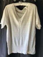 American Vintage Short Sleeve V Neck Linen Blend  Knit Top Light Beige Size 14 L