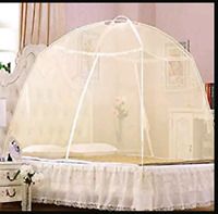 2x Lace Mosquito Folding Bed Netting Net Easy Pop Up Fold Free Standing Tent