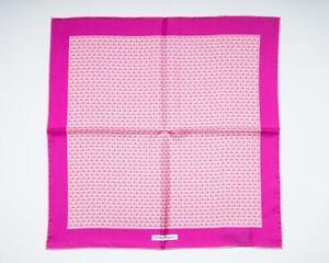 "Salvatore Ferragamo $150 New Pink Sailboat Pattern 100% Silk Pocket Square 13"""