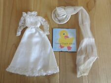 Barbie Doll Clothing WEDDING GOWN Veil Hat White Lace Bodice High Neck Bride