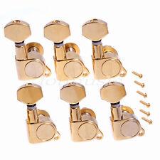 Gold 6R Inline Electric Guitar String Tuning Pegs Tuner Keys Machine Head Screws
