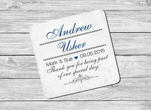 Personalised Usher Name & Date Drink Coaster Mat Wedding Day keepsake Gift