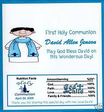 25 Personalized Boys Holly Communion Candy Bar Wrappers