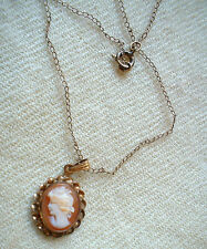 vintage CC Uncas SHELL CAMEO NECKLACE  Marked G. F.  goldfill