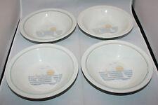 Set of 4 Vintage Figgjo Norway Regatta Soup Salad Serial Bowls Beach Sunset