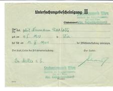 Untersuchungsbescheinigung II, Studentenwerk Wien, 1941
