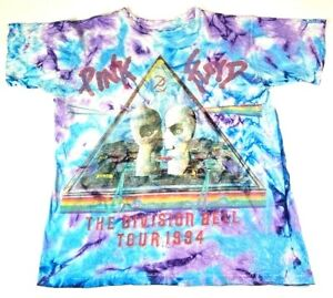 Vintage 1994 Pink Floyd The Division Bell Tour XL Mens T Shirt Blue Tie Dye Tee