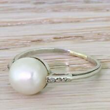 ART DECO NATURAL SALTWATER PEARL SOLITAIRE RING - 18k White Gold - c 1935