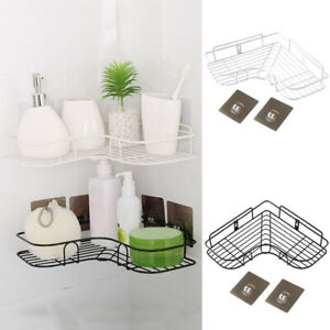 1PC NEW Punch Free Organizer Cosmetic Rack Iron Corner Bathroom Shelf Storage