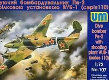 UM Dive Bomber 100 Pe-2 Stuka Sturtzkampfbomber Russian VUB 1:72 Modell-Bausatz