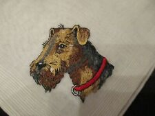 Vintage unused hand embroidered Airedale or Wire fox Terrier dog hanky