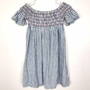Cat & Jack Girls Linen Blend Smocked Stripe Off Shoulder Dress Large Blue White