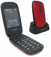 "Big Button Mobile Flip Phone GSP-130 Red Seniors Unlocked 2.4"" Screen SOS Button"