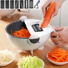 9 In 1 Kitchen Fruit Grater Slicer Magic Rotate Vegetable Cutter w/ Drain Basket