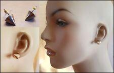 GOLD BULLET SPIKE CONE 10 MM STUD EARRINGS NEW USA SELLER
