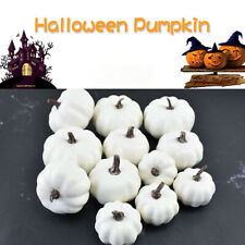 12x Halloween Artificial White Pumpkins Harvest Fall Thanksgiving Decor New UK