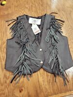 Unisex Vanguard leather Black Motorcycle Vest Fringed Size Med Snap Front NWT