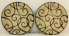 Pair of Pfaltzgraff BLACK SCROLL  Salad/Dessert Plate 8.5""
