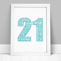 16th 18th 21st 30th 40th 50th 60th Birthday Gift Personalised Word Art Print