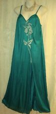 SEXY SIDE SLIT, TEAL GREEN,LACE BODICE,V NECK, LINGERIE NIGHTGOWN LONG-2X #83NT