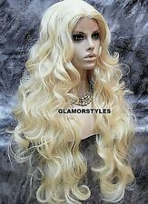 Long Wavy Layered Bleach Blonde Full Lace Front Wig Heat Ok Hair Piece #613 NEW
