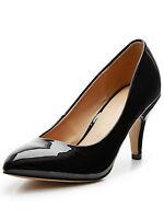 Shoe Box Womens Lorraine Almond Toe Mid Heel Court Shoes BNWT* Uk 8 /41 Black