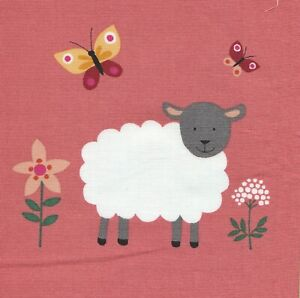 Fabric PicturePanel Lamb Sheep Flowers Butterfly - 100% Cotton 15 x 14cm
