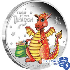 2012 Baby Dragon 1/2oz Silver Proof Coloured Coin LOT 2
