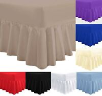 Soft Plain Poly Cotton Fitted Valance Sheet with 16in 40cm Frilled Skirt Valance
