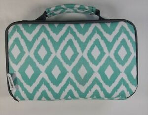 Fit & Fresh Lunch Box Containers Ice Packs Insulated Zip Green White Design