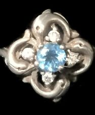 Vintage Dolphin Flower Sterling Silver Cocktail Ring Band Size 5.75 Girls