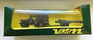 Solido Verem V9532 U.S. Dodge 4x4 Truck With Cannon Artillery Field Gun Piece