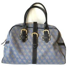 "Dooney & Bourke Denim Blue Signature Leather Handle Satchel Bag Buckle 17"" X 10"""