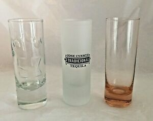 Lot of 3 Tall Shot Glasses Disney Etched 53 Frosted Jose Cuervo and Pink Tinted