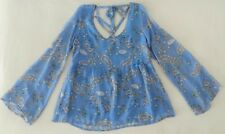 """***NEW $40 HONEY BELLA """"BELL SLEEVE OPEN BACK FLORAL PRINT TOP IN BLUE SIZE S***"""