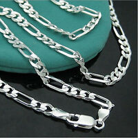 4MM 925 Sterling Silver Plated 16-30inch Chain Fashion Men Figaro Necklace Nice
