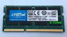 Crucial 16GB x1 DDR3L 1600HMZ CT1204864BF160B.C16FA SODIMM Laptop RAM 1.35V CL11