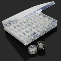 Bobbin Box Storage With 25 Empty Bobbins For Sewing Machine Clear Case Spools AT