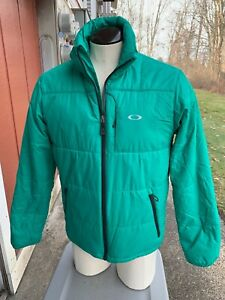 Oakley puffy full zip green insulated jacket ~ mens L