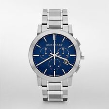 Burberry Men's Swiss Chronograph Stainless Steel Blue Dial Watch 42mm BU9363