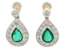 Antique 1.48ct Emerald & 0.92ct Diamond 18ct Yellow Gold Drop Earrings 1930s
