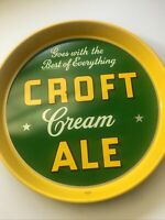 "Vintage Croft CREAM ALE METAL TIN LITHO 12"" BEER TRAY CROFT BREWING CO BOSTON MA"