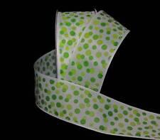 """5 Yards SALE Citrus Lime Green Bubble Polka Dot White Ribbon 1 1/2""""W"""