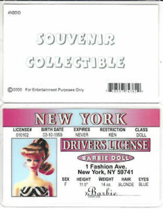 Novelty Driver's License for your Vintage Barbie