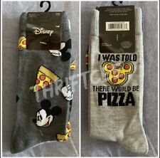 Nwt Mickey Mouse I Was Told There Would Be Pizza 2pk Socks Disney Junk Food Fun