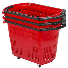 Red Shopping Basket 21''x13.2' 'x14.3'' Mall Rolling Baskets Set of 3 with Wheels