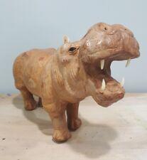 "Vtg Handmade Leather Hippo Statue Figure Hippopotamus 13"" x 9"" Glass Eyes"